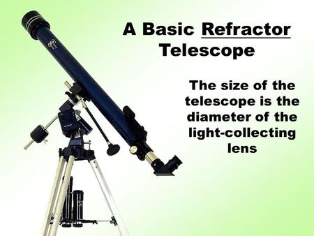 A Basic Refractor Telescope The size of the telescope is the diameter of the light-collecting lens.