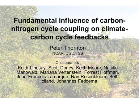Fundamental influence of carbon- nitrogen cycle coupling on climate- carbon cycle feedbacks Peter Thornton NCAR, CGD/TSS Collaborators: Keith Lindsay,