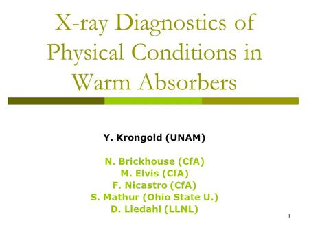 1 X-ray Diagnostics of Physical Conditions in Warm Absorbers Y. Krongold (UNAM) N. Brickhouse (CfA) M. Elvis (CfA) F. Nicastro (CfA) S. Mathur (Ohio State.