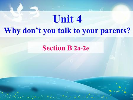 Unit 4 Why don't you talk to your parents? Section B 2a-2e.
