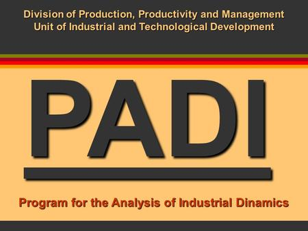 PADI Division of Production, Productivity and Management Unit of Industrial and Technological Development Program for the Analysis of Industrial Dinamics.
