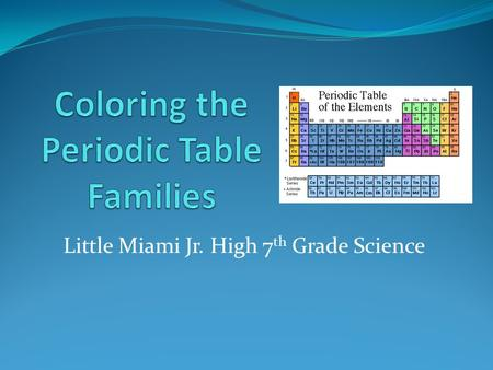 Little Miami Jr. High 7 th Grade Science. Periodic Table Song!!! https://www.youtube.com/watch?v=zUDDiWtFtEM.