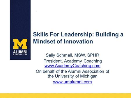 Skills For Leadership: Building a Mindset of Innovation Sally Schmall, MSW, SPHR President, Academy Coaching www.AcademyCoaching.com www.AcademyCoaching.com.