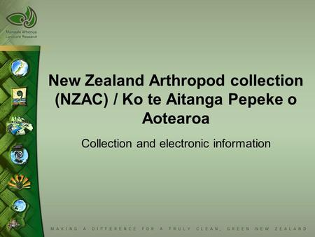 New Zealand Arthropod collection (NZAC) / Ko te Aitanga Pepeke o Aotearoa Collection and electronic information.