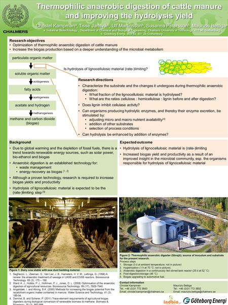 Thermophilic anaerobic digestion of cattle manure and improving the hydrolysis yield Christel Kampman a, Tisse Jarlsvik b, Ulf Martinsson b, Susanna Petersson.