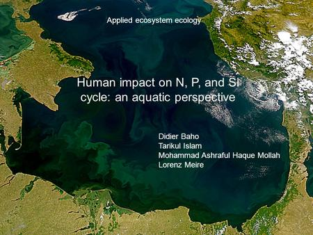 Human impact on N, P, and Si cycle: an aquatic perspective Didier Baho Tarikul Islam Mohammad Ashraful Haque Mollah Lorenz Meire Applied ecosystem ecology.