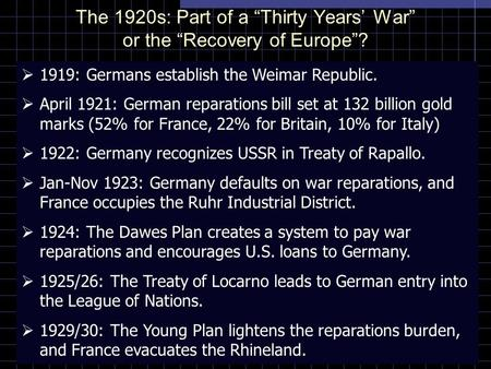 "The 1920s: Part of a ""Thirty Years' War"" or the ""Recovery of Europe""?  1919: Germans establish the Weimar Republic.  April 1921: German reparations bill."