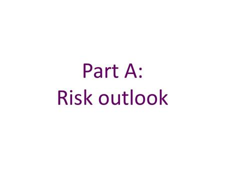 Part A: Risk outlook.