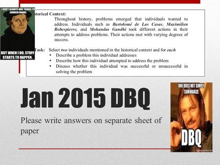 Jan 2015 DBQ Please write answers on separate sheet of paper.