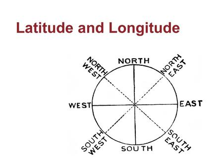 Latitude and Longitude. Latitude- the distance in degrees north or south of the equator The latitude of the equator is 0° (degrees)  What is latitude?