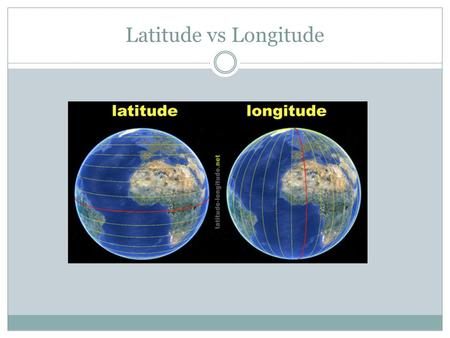 Latitude vs Longitude. Longitude and Latitude Objective: To understand these terms and how they help us to find and describe different locations Objective: