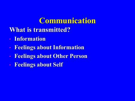 Communication What is transmitted? Information Information Feelings about Information Feelings about Information Feelings about Other Person Feelings about.