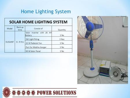 Home Lighting System SOLAR HOME LIGHTING SYSTEM Model Back up time Consist of Quantity ELEGANT6 - 9 Hrs Solar Inverter with 26 AH Battery1 No 5W Light.