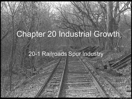 Chapter 20 Industrial Growth 20-1 Railroads Spur Industry.