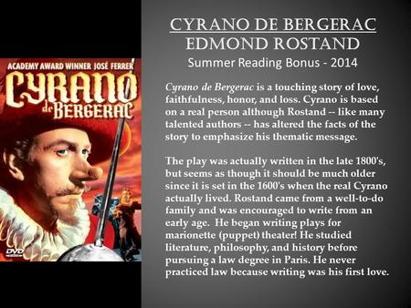 a character analysis of cyrano de bergerac Schumacher, byu, 2009 cyrano de bergerac by edmond rostand dover thrift edition, 2000 concept/vocabulary analysis summary: the honorable cadet of the french army, hercule savinien cyrano de.