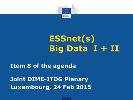 ESSnet(s) Big Data I + II Item 8 of the agenda Joint DIME-ITDG Plenary Luxembourg, 24 Feb 2015.