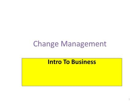 Change Management 1 Intro To Business. Intro to Business Defining change management Individual change management Organizational change management Who.