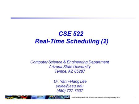 CSE 522 Real-Time Scheduling (2)