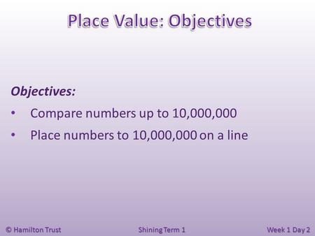 © Hamilton Trust Shining Term 1 Week 1 Day 2 Objectives: Compare numbers up to 10,000,000 Place numbers to 10,000,000 on a line.