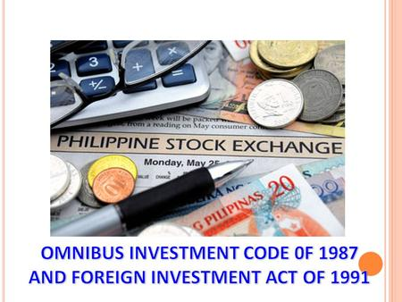 Republic <strong>Act</strong> 7042, also known as the Foreign Investments <strong>Act</strong> of 1991, was enacted to spell out the procedures and conditions under which non-Philippine.