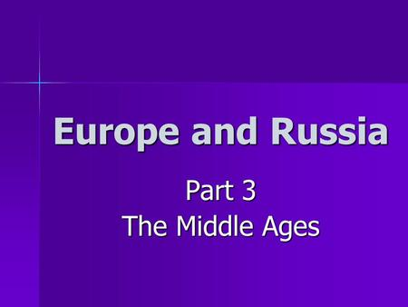 Europe and Russia Part 3 The Middle Ages. After the collapse of the Roman Empire, much of Europe entered the MIDDLE AGES – a time where knowledge and.