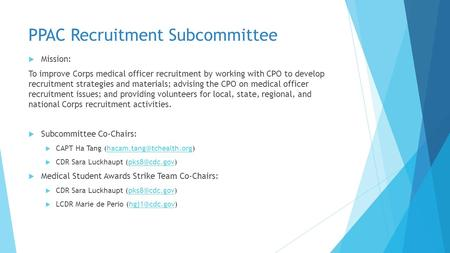 PPAC Recruitment Subcommittee  Mission: To improve Corps medical officer recruitment by working with CPO to develop recruitment strategies and materials;
