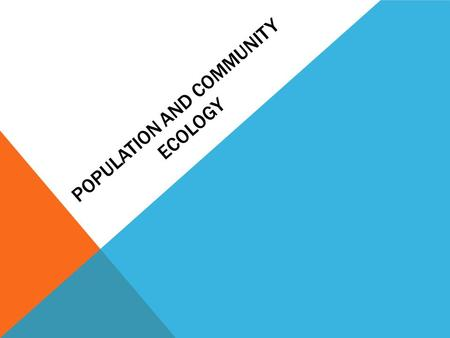 POPULATION AND COMMUNITY ECOLOGY. COMPLEXITY OF NATURE.