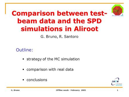 G. BrunoOffline week - February 20051 Comparison between test- beam data and the SPD simulations in Aliroot G. Bruno, R. Santoro Outline:  strategy of.