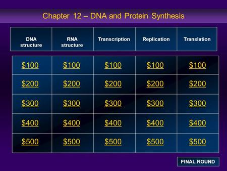 Chapter 12 – DNA and Protein Synthesis $100 $200 $300 $400 $500 $100$100$100 $200 $300 $400 $500 DNA structure RNA structure Transcription Replication.