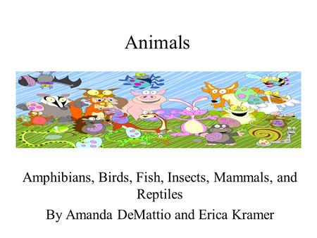 Animals Amphibians, Birds, Fish, Insects, Mammals, and Reptiles By Amanda DeMattio and Erica Kramer.