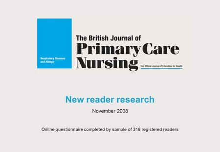 New reader research November 2008 Online questionnaire completed by sample of 318 registered readers.