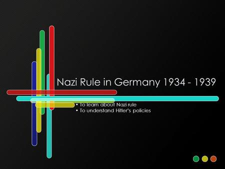 Nazi Rule in Germany 1934 - 1939 To learn about Nazi rule To understand Hitler's policies.