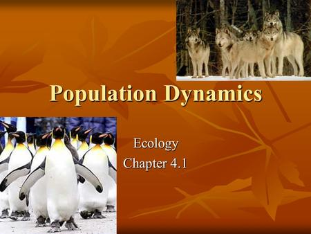 Population Dynamics Ecology Chapter 4.1. Principles of Population Growth A population is a group of organisms of the same species that live in a specific.