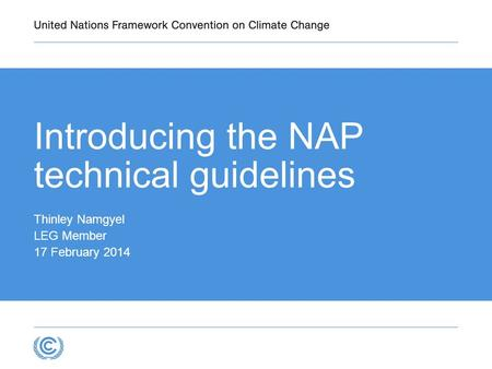 Introducing the NAP technical guidelines Thinley Namgyel LEG Member 17 February 2014.