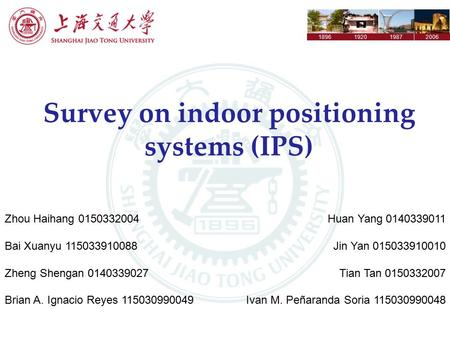 1896192019872006 Survey on indoor positioning systems (IPS) Zhou Haihang 0150332004 Bai Xuanyu 115033910088 Zheng Shengan 0140339027 Brian A. Ignacio Reyes.
