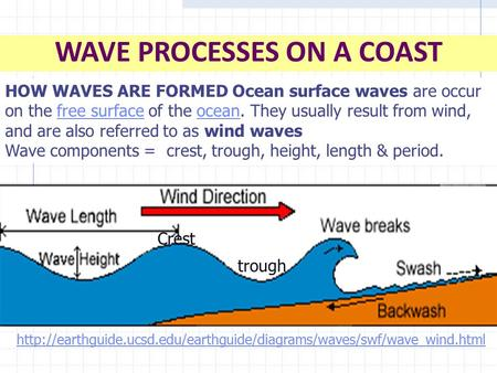 WAVE PROCESSES ON A COAST HOW WAVES ARE FORMED Ocean surface waves are occur on the free surface of the ocean. They usually result from wind, and are also.