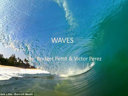 WAVES By: Bridget Pettit & Victor Perez. Waves are a result of forces acting on the surface of the water. GENERATIONG FORCES : is a forces (ie rock or.