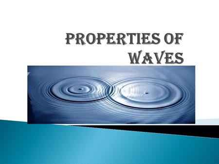 Properties of waves. RIPPLE TANK A ripple tank consists of a rectangular try with glass bottom. This tray is placed approximately at a height equal to.
