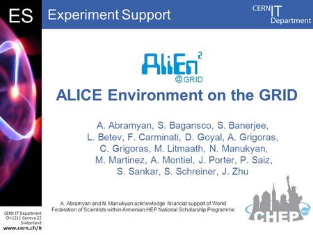 Experiment Support CERN IT Department CH-1211 Geneva 23 Switzerland www.cern.ch/i t DBES A. Abramyan, S. Bagansco, S. Banerjee, L. Betev, F. Carminati,