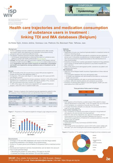 Health care trajectories and medication consumption of substance users in treatment : linking TDI and IMA databases (Belgium) De Ridder Karin, Antoine.