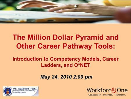 The Million Dollar Pyramid and Other Career Pathway Tools: Introduction to Competency Models, Career Ladders, and O*NET May 24, 2010 2:00 pm May 24, 2010.
