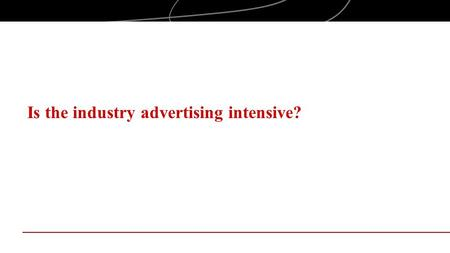 Is the industry advertising intensive?. Objectives Examine industry structure, with a focus on advertising intensity, in the context of entrepreneurial.