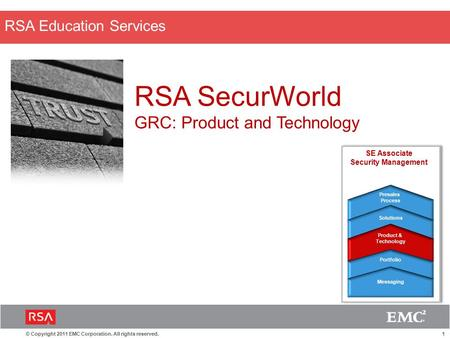 1© Copyright 2011 EMC Corporation. All rights reserved. RSA Education Services RSA SecurWorld GRC: Product and Technology SE Associate Security Management.