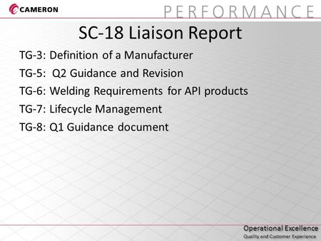 Operational Excellence Quality and Customer Experience Operational Excellence Quality and Customer Experience SC-18 Liaison Report TG-3: Definition of.
