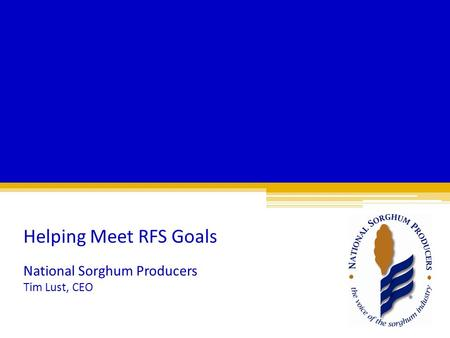 National Sorghum Producers Tim Lust, CEO Helping Meet RFS Goals.
