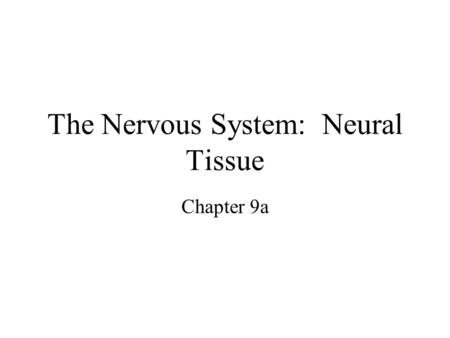 The Nervous System: Neural Tissue Chapter 9a. Introduction –Nervous system = control center & communications network –Functions Stimulates movements Maintains.