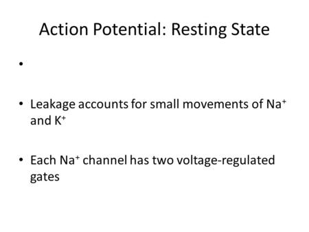 Action Potential: Resting State Leakage accounts for small movements of Na + and K + Each Na + channel has two voltage-regulated gates.