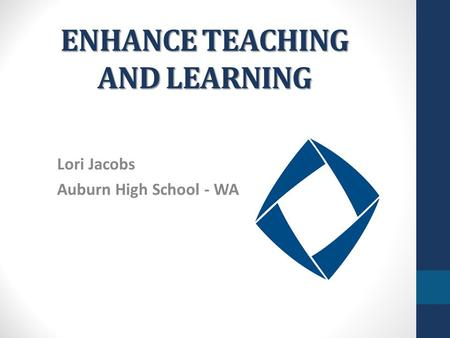 ENHANCE TEACHING AND LEARNING Lori Jacobs Auburn High School - WA.