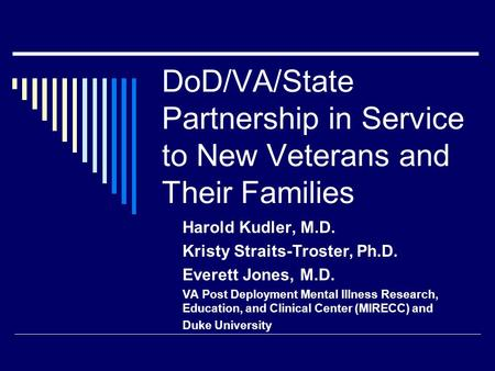 DoD/VA/State Partnership in Service to New Veterans and Their Families Harold Kudler, M.D. Kristy Straits-Troster, Ph.D. Everett Jones, M.D. VA Post Deployment.