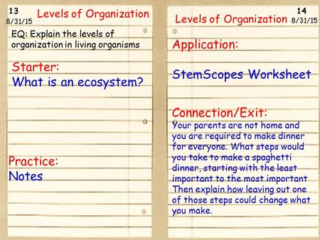 13 14 8/31/15 Levels of Organization 8/31/15 Starter: What is an ecosystem? Practice: Notes Application: StemScopes Worksheet Connection/Exit: Your parents.